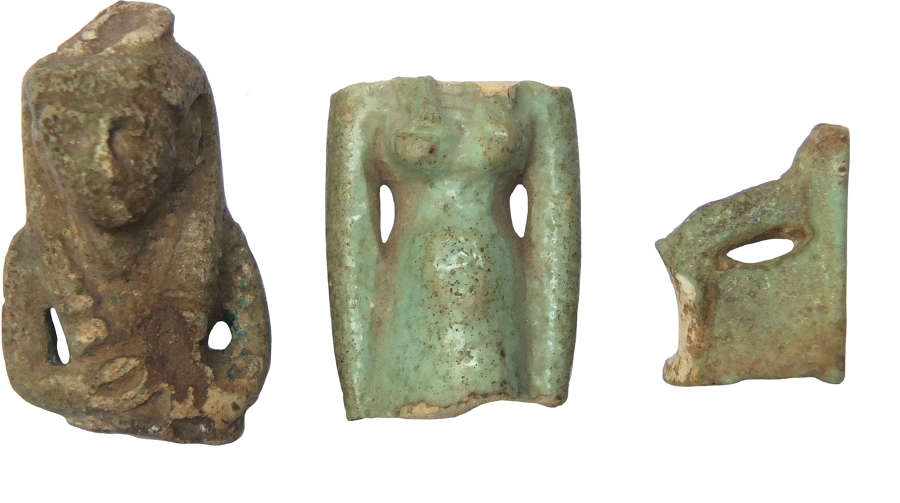 A group of three fragmentary Egyptian blue faience amulets