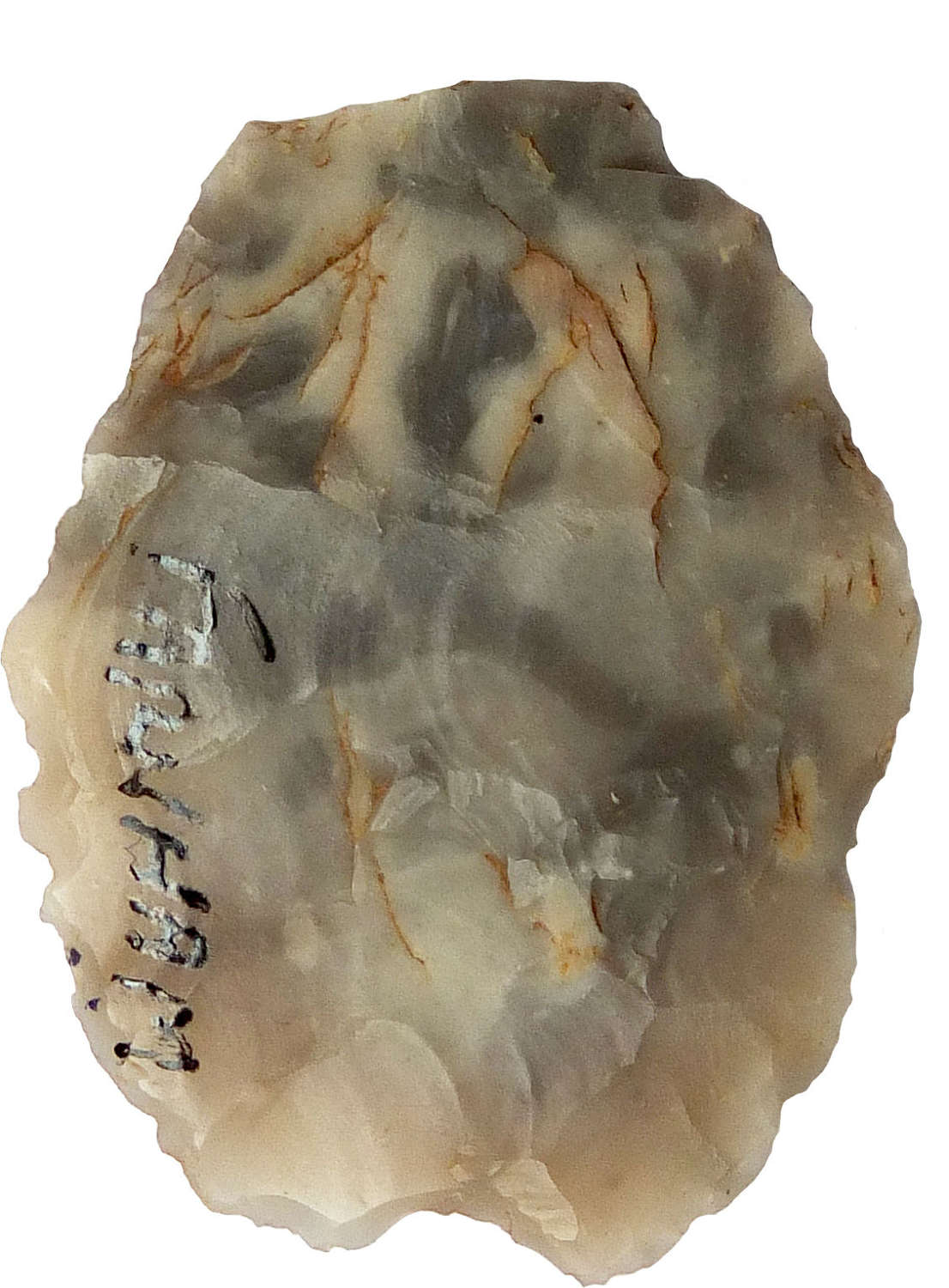 An Early Neolithic flint arrowhead found at Farnham, Surrey