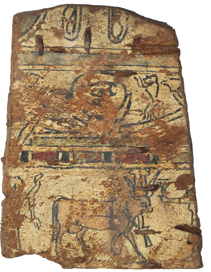 An Egyptian painted polychrome wooden panel, c. 1st Millennium B.C.