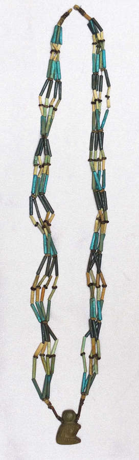 An attractive and unusually long restrung necklace of Egyptian beads