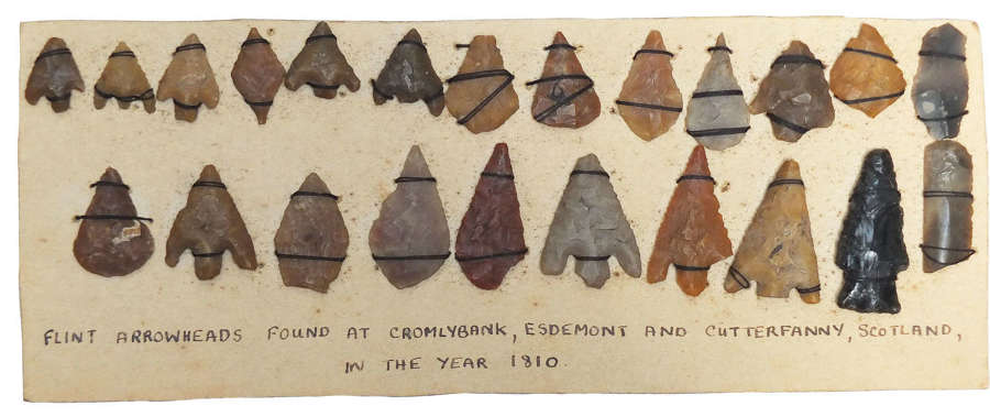 An outstanding collection of flint arrowheads reportedly found in 1810