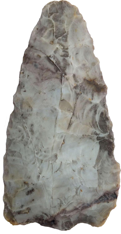 A North American Indian Archaic triangular grey flint point