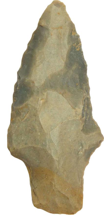 A North American Indian Archaic grey flint stemmed point