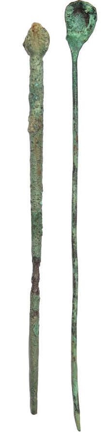 A Roman bronze scoop and dress pin, c. 1st - 4th Century A.D.