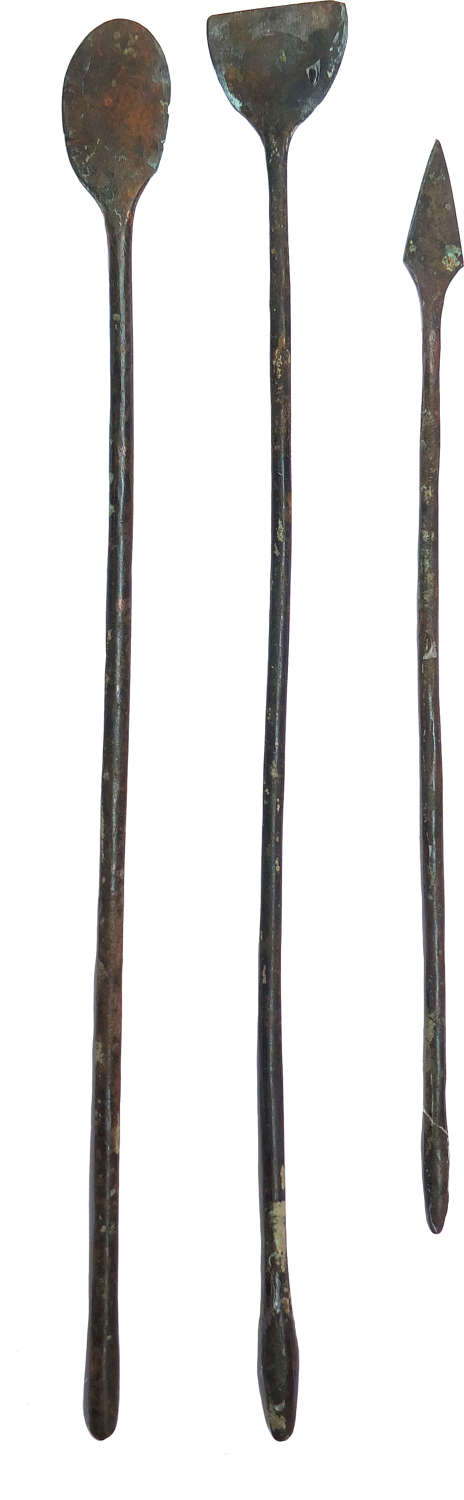 A group of three Roman bronze spatulas, c. 1st - 4th Century A.D.