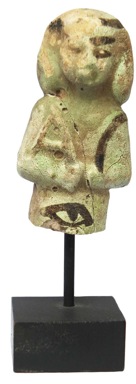 A fragmentary Egyptian green faience ushabti, c. 900-700 B.C.