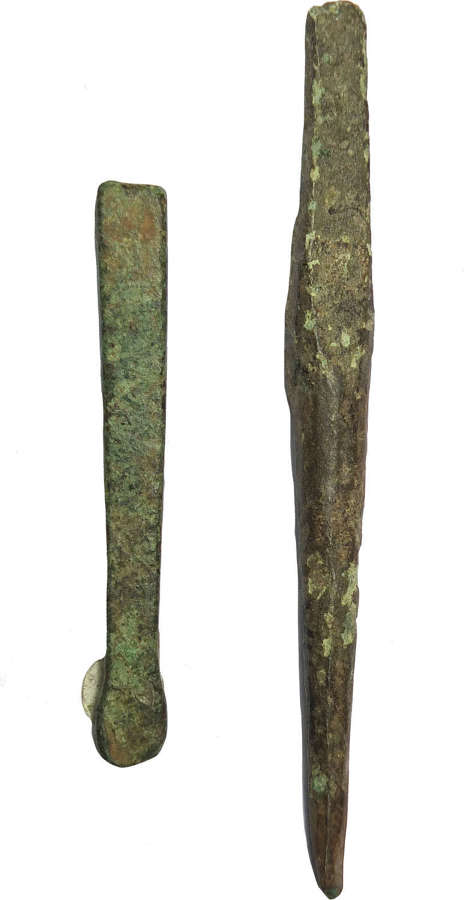 Two Late Bronze Age bronze tools, an awl and a chisel, 1150-800 B.C.