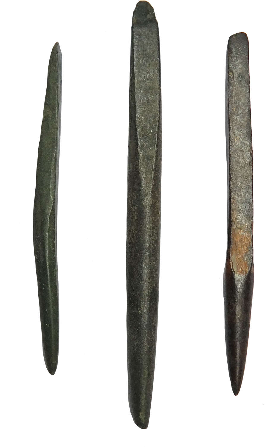 Three Late Bronze Age bronze awls or punches, 1150-800 B.C.