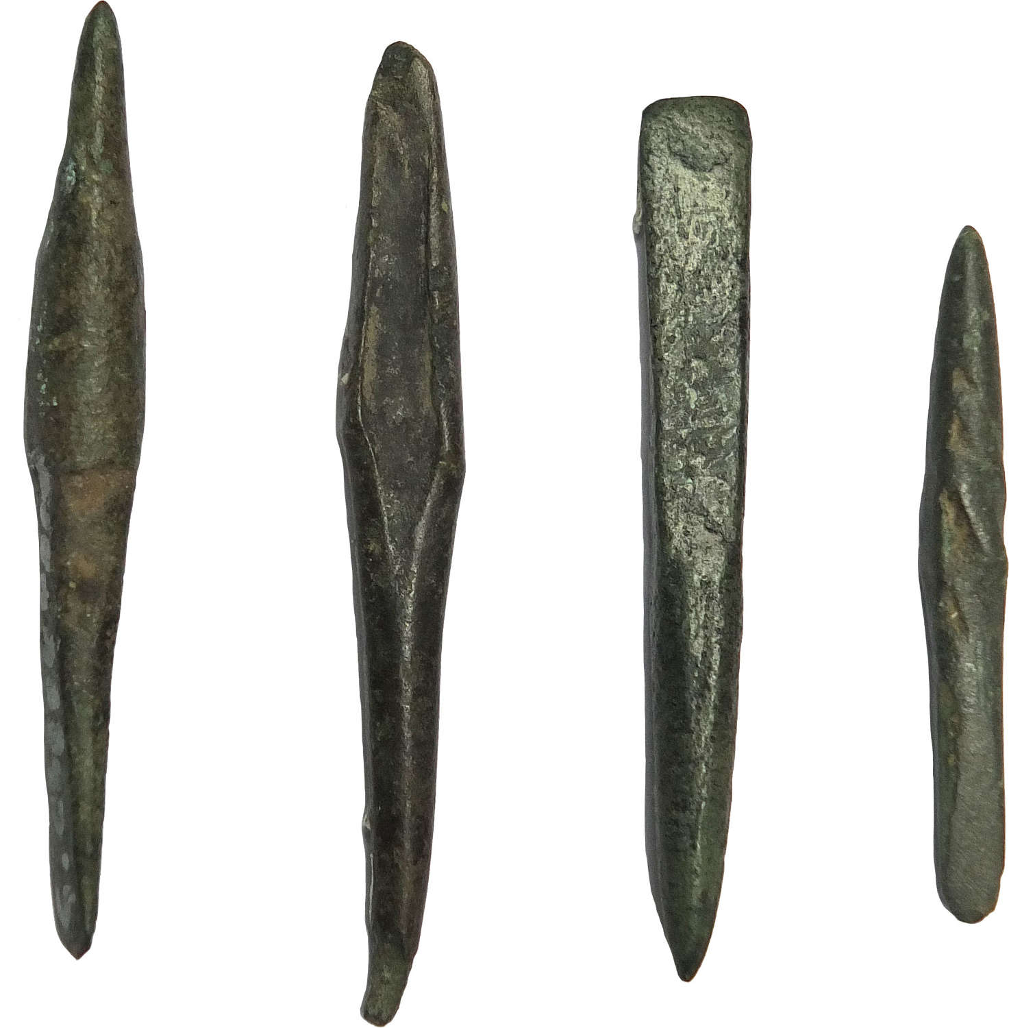 Four Late Bronze Age bronze awls or punches, 1150-800 B.C.