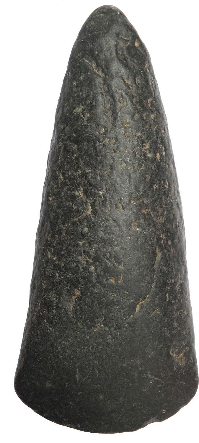 A Neolithic polished black hardstone axe found in Kent, c. 2000 B.C.