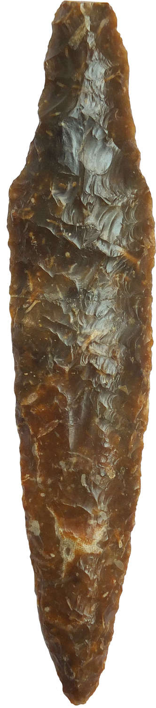 A fine Scandinavian Neolithic brown flint tanged dagger, c. 2000 B.C.