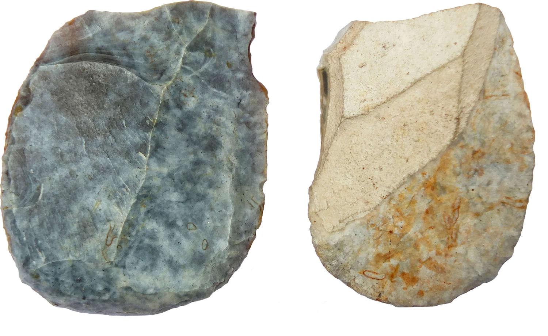 Two Neolithic grey flint scrapers, c. 3rd Millennium B.C.