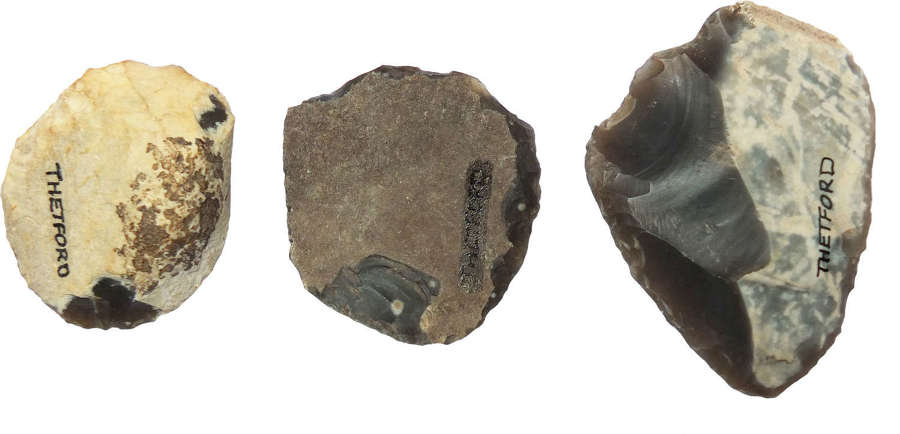 A group of three Neolithic flint scrapers from Thetford, Norfolk