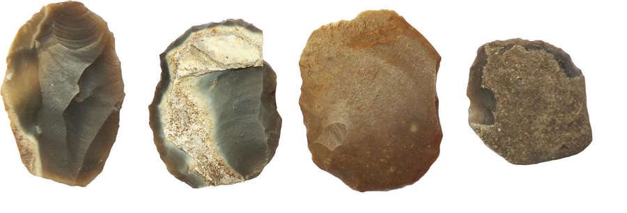 A group of four small Neolithic flint tools from Thetford, Norfolk
