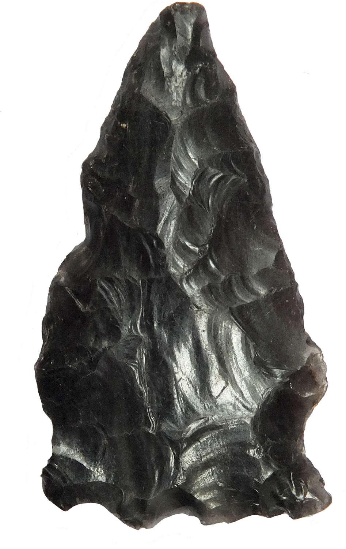 A Mesoamerican triangular obsidian arrowhead, c. 1st Millennium A.D.