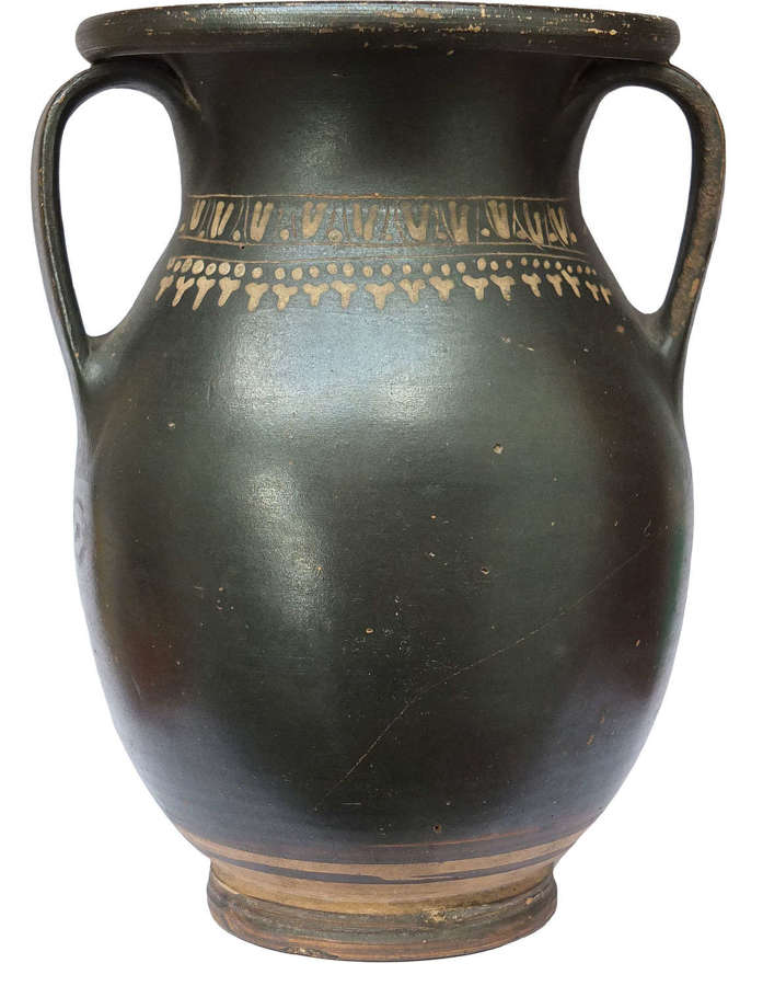 A Greek Gnathia Ware twin-handled olpe found at Pompeii in 1872