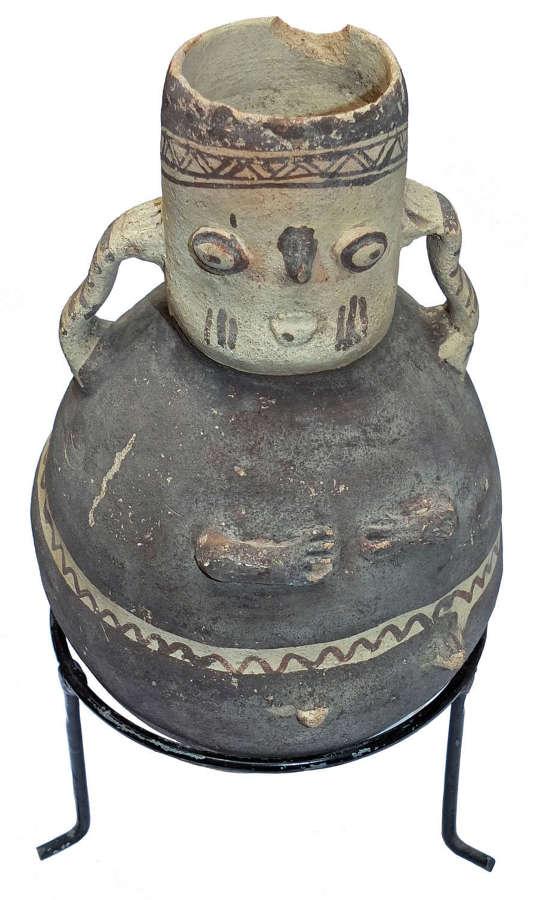 A Chancay ovoid pottery vessel, Peru, c. 1000-1400 A.D.