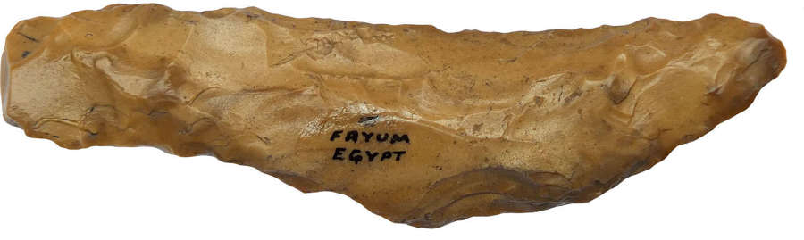 An Egyptian Neolithic or Predynastic brown flint tanged knife
